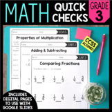 Math Quick Checks - 3rd Grade | Digital Pages Google Slides | Distance Learning