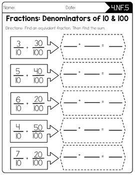 Common core worksheets grade 5 fractions