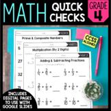 Math Quick Checks - 4th Grade | Digital Pages Google Slide