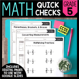 Math Quick Checks - 5th Grade | Digital Pages Google Slides | Distance Learning