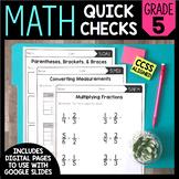 Math Quick Checks - 5th Grade | Digital Pages Google Slide