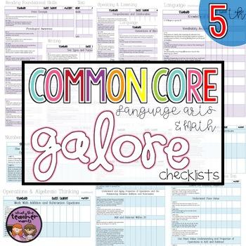 Common Core Math and ELA Galore 5th Grade Checklist
