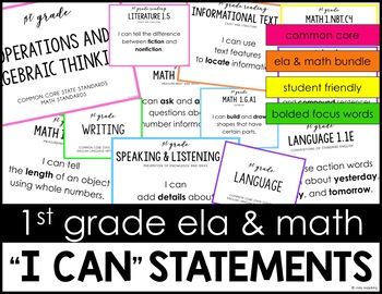 Common Core Math and ELA I Can Statements 1st Grade BUNDLE