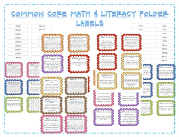 Common Core Math and LIteracy Labels {First Grade}