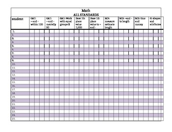 Common Core Math grade book