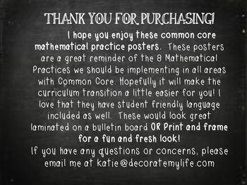 Common Core Mathematical Practices- Chalkboard Posters with Student Language