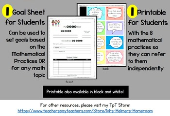 Common Core Mathematical Practices POSTERS and GOAL Setting Sheet