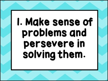 Common Core Mathematical Practices Posters: Blue Chevrons