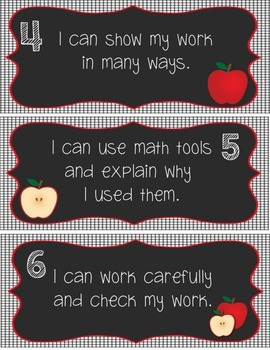 Common Core Mathematical Practices Signs Apple Theme