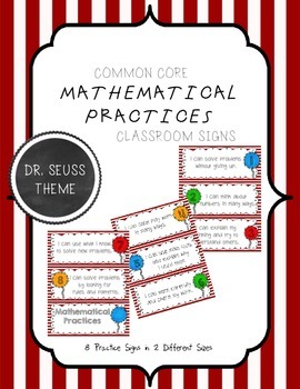 Common Core Mathematical Practices Signs Dr. Seuss Theme