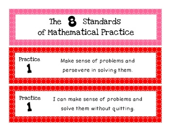 Common Core Mathematical Standards of Practice Posters and Sentence Strips