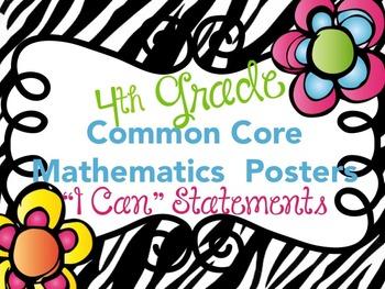 """Common Core Mathematics """"I Can"""" Statements Fourth Grade"""