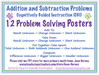 POSTERS Common Core Mathematics Problem Types for Addition