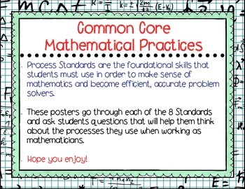 Common Core Mathematics Practices - Process Standards Posters