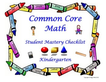 Common Core Mathematics Student Mastery Checklist Kindergarten
