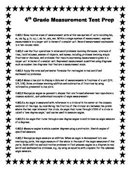 Common Core Measurement Test Prep for Fourth Grade-All measurement standards