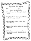 Common Core Measurement Word Problems with Unknowns