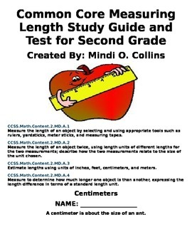 Common Core Measuring Length Study Guide and Test for Second Grade