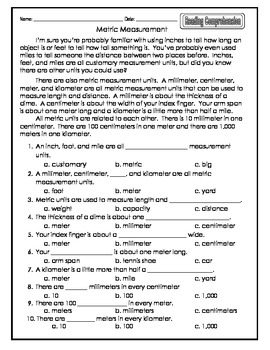 Common Core Metric Measurement Reading Comprehension and Worksheet