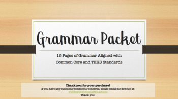 Common Core Middle School Grammar Packet
