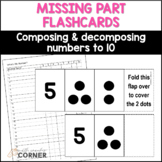 Number Sense: Missing Part Flashcards, Combinations for numbers 1-10