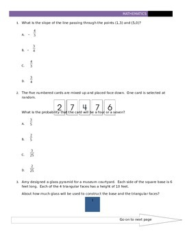 Common Core Mock State Assessment 8th Grade