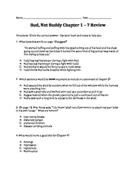 Common Core Module Bud, Not Buddy Multiple Choice Chapter Reviews