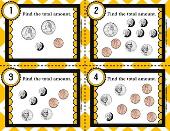 Money Counting Coins Task Cards FREEBIE