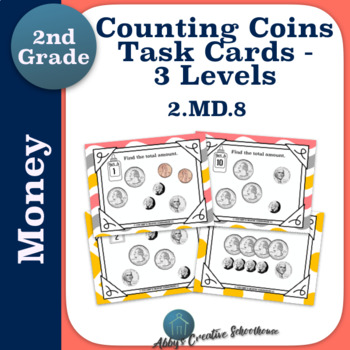 2.MD.8 Money Counting Coins Task Cards