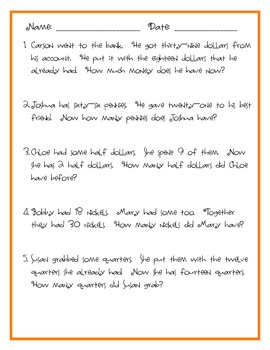 Common Core Money Word Problems with Unknowns