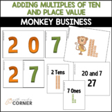 Monkey Business Adding 10s and Place Value Workstation Activities