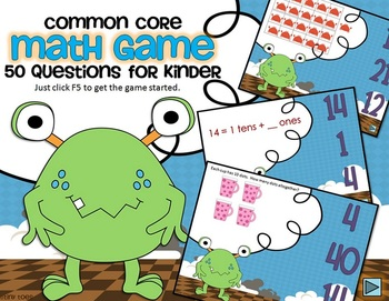 Common Core Monster Math Game for Kindergarten - Interactive Powerpoint
