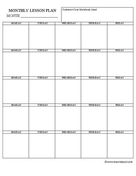 Common Core Monthly Lesson Plan Template