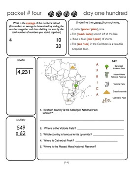 Common Core Morning Warm-Ups:  30 Daily Warm-Ups for Gr. 4:  Pack #4