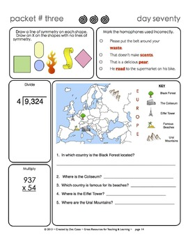 Common Core Morning Warm-Ups:  30 Daily Warm-Ups for Gr. 4:  Pack #3