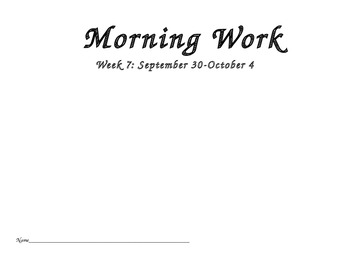 October Common Core Morning Work