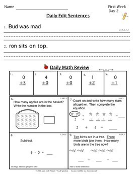 Work - First Grade - Common Core ~ A Daily ELA & Math Review