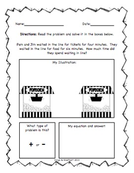 Common Core Morning Work (1st Grade) Movie Math (Addition & Subtraction) {20 Pg}