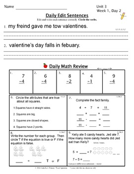 1st Grade Morning Work   1st Grade Daily Spiral Review - Free Valentine Edition