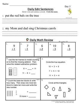 Common Core Morning Work - Grade 1 ~ Christmas Edition