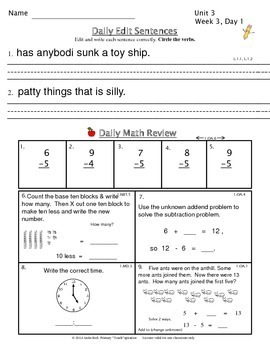 Common Core Morning Work - Grade 1 (Unit 3) ~ A Daily ELA & Math Review