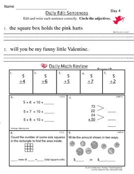 Common Core Morning Work - Grade 2 ~ Valentine Edition