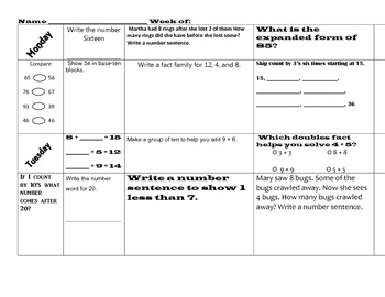 Common Core Morning Work Math & Language