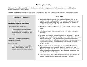 Common Core Movie Loglines Activity
