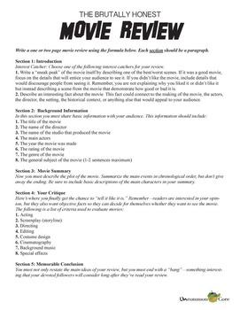 Common Core Movie Review Activity