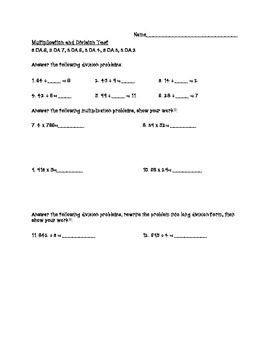 3.OA.2,3,4,6,7,8 Assessment Multi-Digit Multiplication and Division
