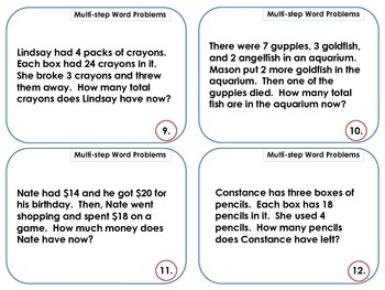 Common Core Multi-Step Word Problem Scoot - End of the Year