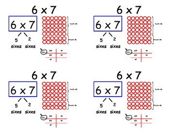 Common Core Multiplication Flashcards - sixes (distributive property)