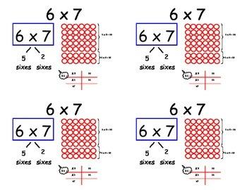 Common Core Multiplication Flashcards - sixes (distributiv