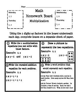 Common Core Multiplication Math Boards